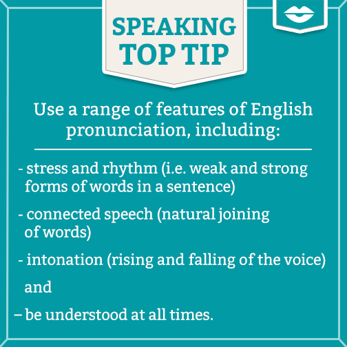 Use a range of features of English pronunciation, including: